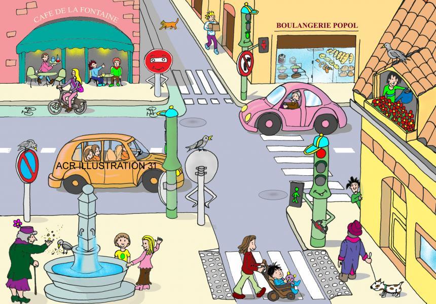 Scene urbaine code de la route